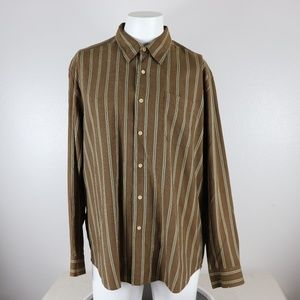 Tommy Bahama XL Brown Tan Shirt Striped LS BF